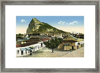 Rock Of Gibraltar Seen From La Linea De Framed Print by Vintage Design Pics