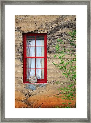 Framed Print featuring the photograph Rock On A Red Window by James Eddy