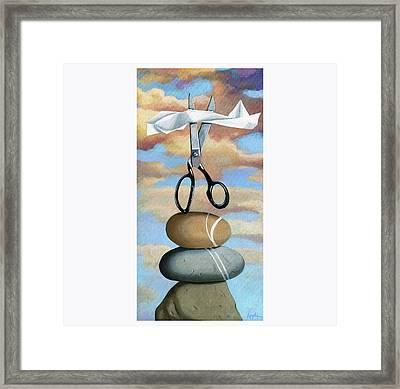 Framed Print featuring the painting Rock, Paper, Scissors by Linda Apple