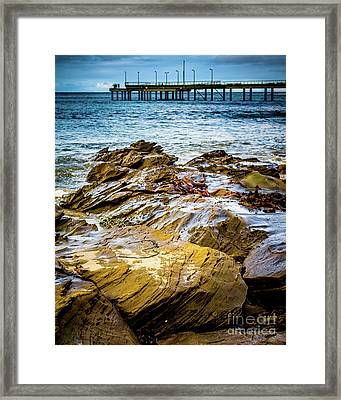 Framed Print featuring the photograph Rock Pier by Perry Webster
