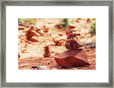Rock Pile At Vortex In Sedona Arizona Framed Print by Susan Schmitz