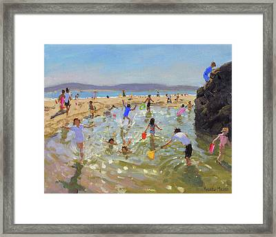 Rock Pool, Tenby Framed Print by Andrew Macara