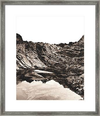 Framed Print featuring the photograph Rock - Sepia Detail by Rebecca Harman