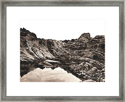 Framed Print featuring the photograph Rock - Sepia by Rebecca Harman