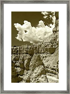 Framed Print featuring the photograph Rock Wall And Sky by Pete Hellmann
