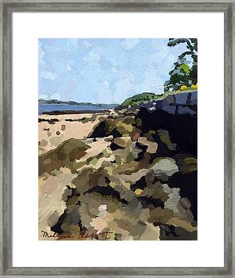 Rock Wall Looking South On Ten Pound Island, Gloucester, Ma Framed Print