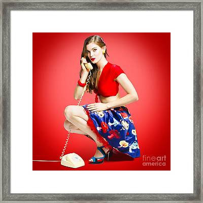 Rockabilly Gal Talking The Talk On Old Telephone Framed Print by Jorgo Photography - Wall Art Gallery