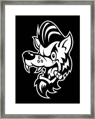 Rockabilly Wolf Head Framed Print