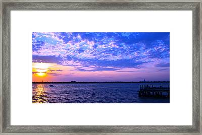 Rockaway Point Dock Sunset Violet Orange Framed Print