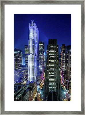 Rockefeller At Night Framed Print