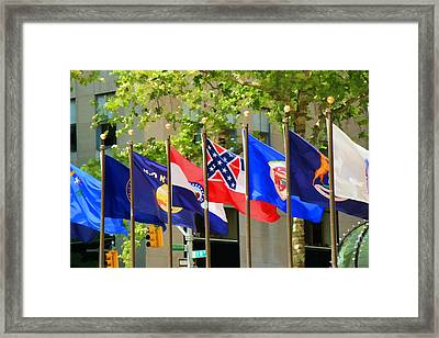 Rockefeller Center Flags Framed Print by Allen Beatty
