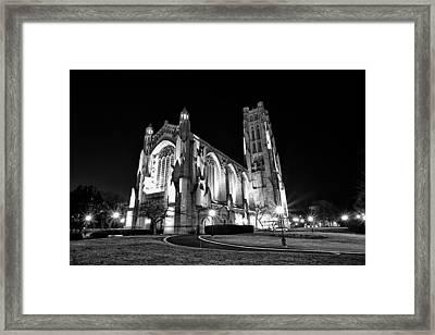 Rockefeller Chapel - B And W Framed Print by CJ Schmit