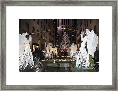 Rockefeller Center Snow Angels And Christmas Tree At Night Framed Print by John Telfer