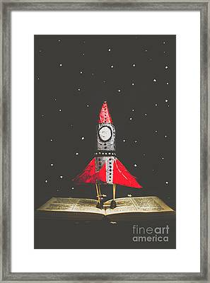 Rockets And Cartoon Puzzle Star Dust Framed Print