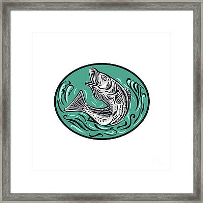 Rockfish Jumping Color Oval Drawing Framed Print by Aloysius Patrimonio