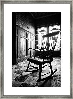 Rocking Chair - Abandoned Building Framed Print