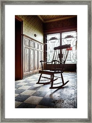 Rocking Chair - Abandoned House Framed Print by Dirk Ercken