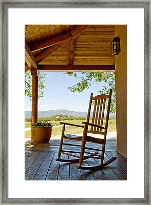 Rocking Chair At Ranch House Porch Framed Print by Nicolas Russell