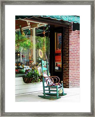 Rocking Chair By Boutique Framed Print by Susan Savad