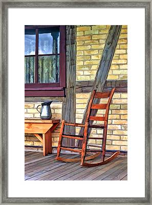 Rocking Chair On Porch At Old World Wisconsin Framed Print by Christopher Arndt