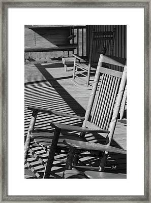 Rocking Chair Porch In Black And White Framed Print by Suzanne Gaff