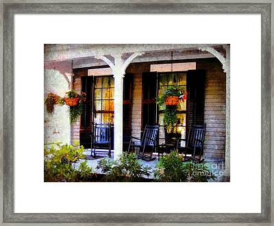 Rocking Chairs On A Country Porch  Framed Print