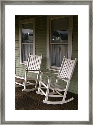 Rocking Chairs On The Porch Framed Print by Todd Gipstein