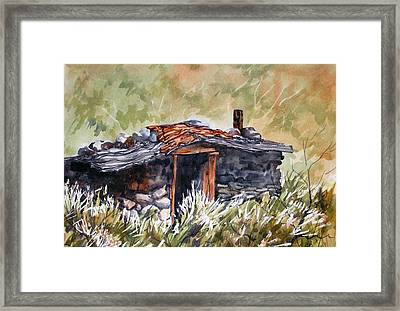 Framed Print featuring the painting Rocking Miners Cabin by Pat Crowther