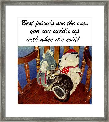 Rocking With Friends - Kitten And Stuffed Animals Painting Framed Print