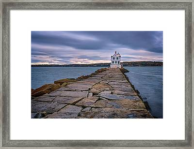Rockland Harbor Breakwater Light Framed Print by Rick Berk