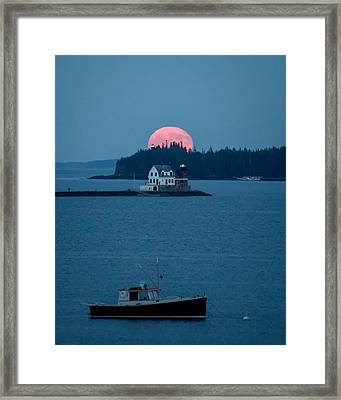 Rockland Harbor Full Moon Framed Print