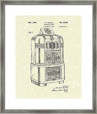 Rockola Phonograph Cabinet 1940 Patent Art Framed Print by Prior Art Design