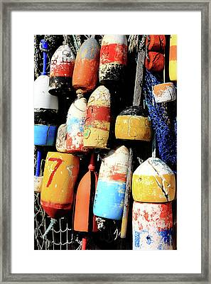 Rockport Buoys Framed Print by Lou Ford