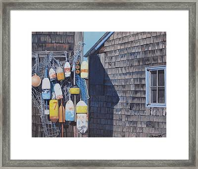 Rockport Fishing Shack With Lobster-buoys And Nets Framed Print