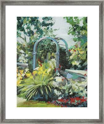 Rockport Garden Gate Framed Print by Trina Teele