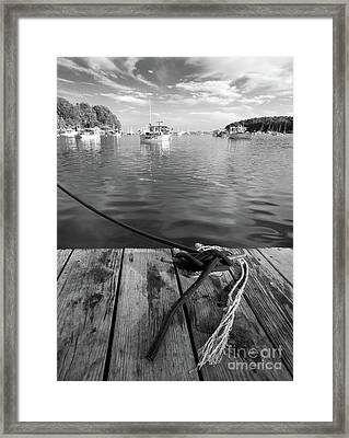Rockport Harbor, Maine #80458-bw Framed Print