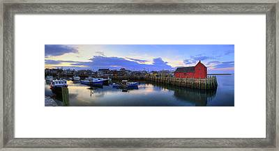 Framed Print featuring the photograph Rockport Harbor Sunset Panoramic With Motif No1 by Joann Vitali