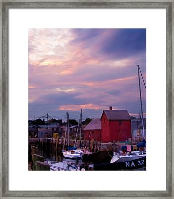Framed Print featuring the photograph Rockport Sunset Over Motif #1 by Jeff Folger