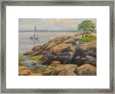 Rocks And Boat, Manor Park Framed Print
