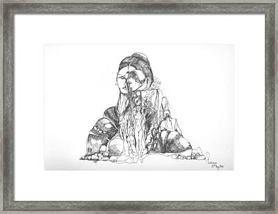 Framed Print featuring the drawing Rocks And Bodies by Padamvir Singh