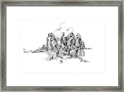 Framed Print featuring the drawing Rocks And Hills by Padamvir Singh