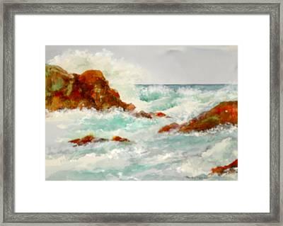 Rocks And Ocean Framed Print
