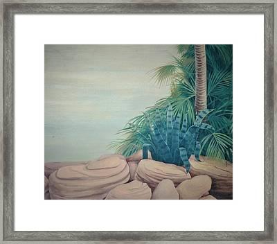 Rocks And Palm Tree Framed Print