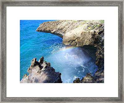 Rocks And Rainbow Framed Print by Susan Lafleur