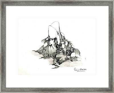 Rocks And Some Grass Framed Print by Padamvir Singh