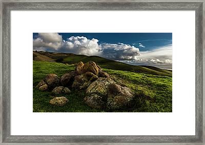 Rocks And Storm Clouds On Mission Peak Framed Print
