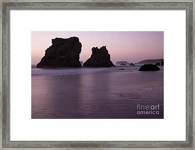 Rocks At Bandon Framed Print by Masako Metz