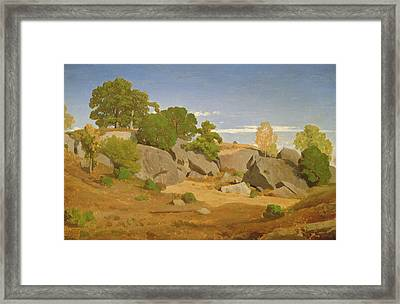 Rocks At Fontainebleau Framed Print by Theodore Caruelle d'Aligny
