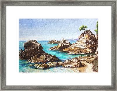Rocks At Kalamaki Framed Print by Yvonne Ayoub
