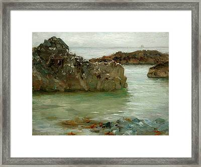Framed Print featuring the painting Rocks At Newport by Henry Scott Tuke